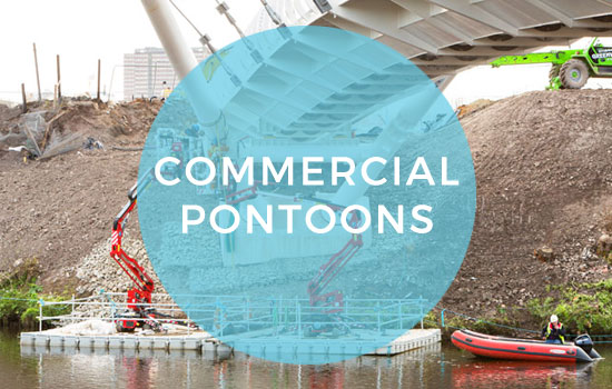 Commercial floating pontoon hire for construction, maintnenance and repair work