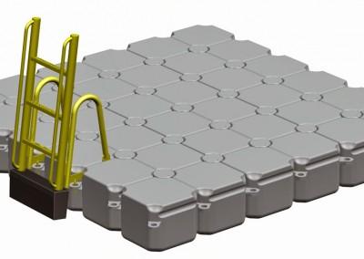 3m x 3m Floating Pontoon with Ladder