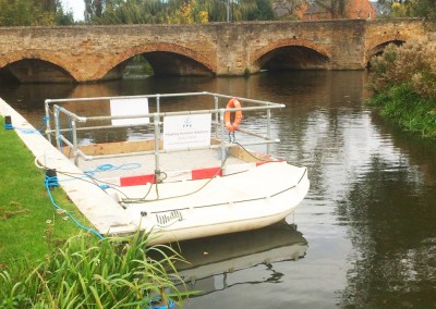 Work Boat Hire and Floating Pontoon With Safety Hand Rails