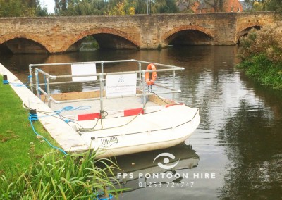 Work Boat Hire and floating pontoon with handrails