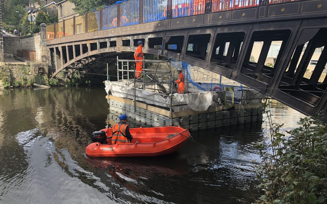 Pontoon for historic Newlay Bridge